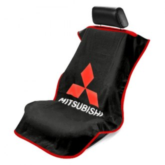Seat Armour® - Black Towel Seat Cover with Mitsubishi Logo