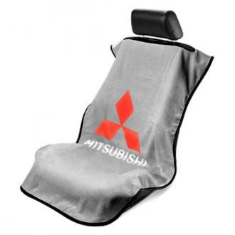 Seat Armour® - Gray Towel Seat Cover with Mitsubishi Logo