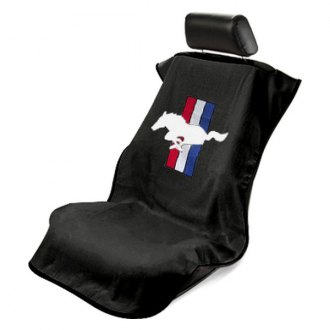 Seat Armour® - Black Towel Seat Cover with Mustang Pony Logo