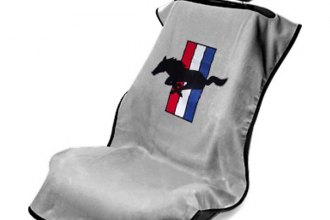 Seat Armour® - Gray Towel Seat Cover with Mustang Pony Logo