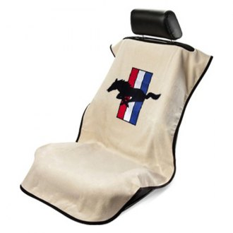 Seat Armour® - Tan Towel Seat Cover with Mustang Pony Logo