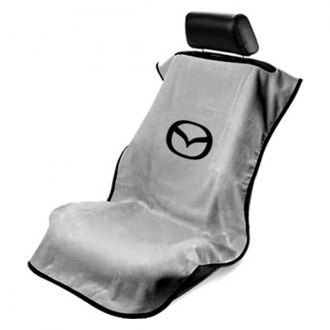Seat Armour® - Gray Towel Seat Cover with Mazda Logo