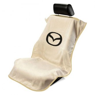 Seat Armour® - Tan Towel Seat Cover with Mazda Logo