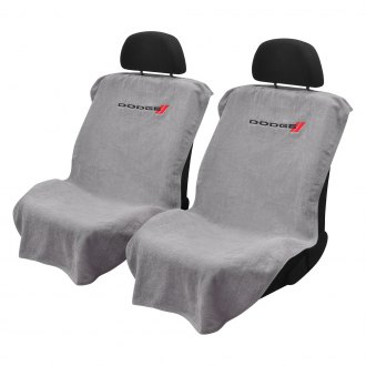 Seat Armour® - Gray Towel Seat Cover with Dodge Logo
