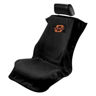 Seat Armour® - NCAA Towel Seat Cover with Oklahoma State University Logo on Black Background
