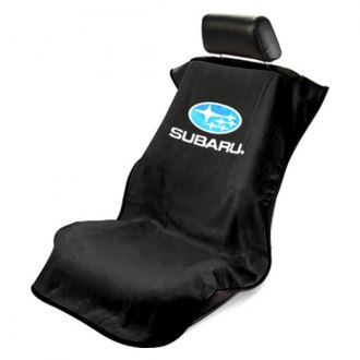 Seat Armour® - Black Towel Seat Cover with Subaru Logo
