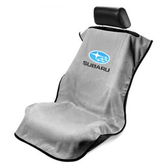 Seat Armour® - Gray Towel Seat Cover with Subaru Logo