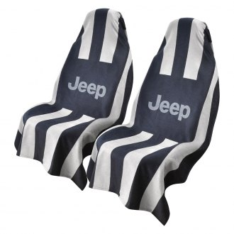 Seat Armour® - Towel 2 Go Black/Gray Towel Seat Cover with Jeep Logo