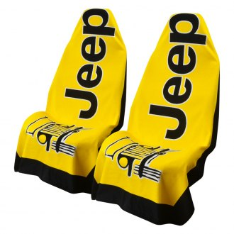 Seat Armour® - Towel 2 Go Yellow Seat Cover with Jeep Wrangler Logo