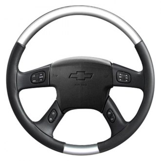 Sherwood® - Steering Wheel with Glossy Silver Inserts and Charcoal Leather