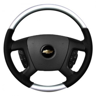 Sherwood® - Steering Wheel with Glossy Silver Inserts and Ebony Leather