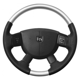 Sherwood® - Steering Wheel with Glossy Silver Inserts and Medium Gray Leather