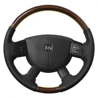 Sherwood® - Steering Wheel with Southern Cherry Inserts and Medium Gray Leather