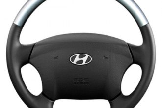 Sherwood® - Steering Wheel with Glossy Silver Inserts and Royal Black Leather