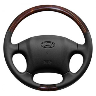 Sherwood® - Gray Leather Steering Wheel with Majestic Burl Inserts