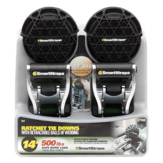 SmartStraps® - Ratchet X Green Tie-Downs with Retractable Ball of Webbing