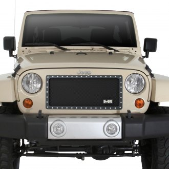Smittybilt® - 1-Pc M1 Series Black Studded Wire Mesh Main Grille