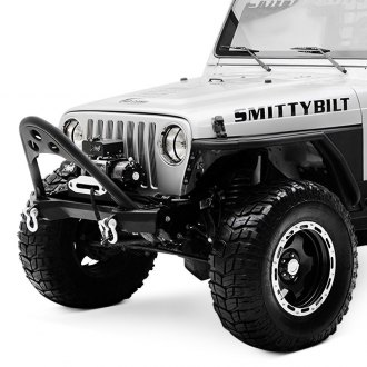 Smittybilt® - SRC Stubby Black Front Winch HD Bumper with Stinger