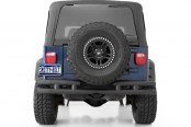Smittybilt® - Textured Black Tubular Rear Bumper with Hitch