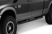 "Image may not reflect your exact vehicle! Smittybilt® - 3"" Gloss Black Round Sure Steps Installed"