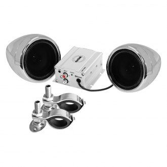 "Sound Storm Lab® - 3"" Chrome 2-Channel Motorcycle/ATV 600W Sound System with Bluetooth"
