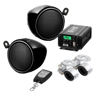 "Sound Storm Lab® - 3"" Black 2-Channel Motorcycle/ATV 600W Sound System with Built-in FM Tuner"