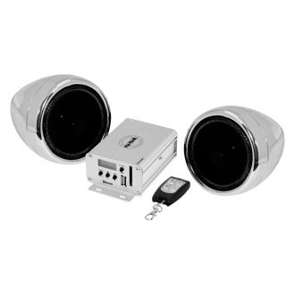 "Sound Storm Lab® - 3"" Chrome 2-Channel Motorcycle/ATV 600W Sound System with Bluetooth and Aux Input"