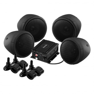 "Sound Storm Lab® - 3"" Black 4-Channel Motorcycle/ATV 1000W Sound System with Bluetooth and Aux Input"