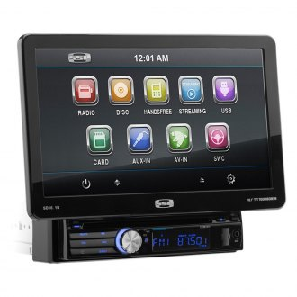 "Sound Storm Lab® - Single DIN DVD/CD/AM/FM/MP3/WMA/MP4 Receiver with Motorized 10.1"" Touchscreen Display and Built-In Bluetooth"