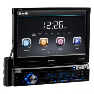 "Sound Storm Lab® - Single DIN DVD/CD/AM/FM/MP3/WMA Receiver with 7"" Touchscreen and LCD Monitor"