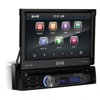 "Sound Storm Lab® - Single DIN USB /SD/Aux Input/Remote Receiver with 7"" Flip Out Monitor"