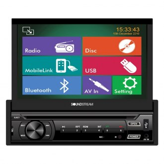 "Soundstream® - Single DIN DVD/CD/AM/FM/MP3/WMA/MP4 Receiver with Motorized 7"" Touchscreen Display and Built-In Bluetooth"