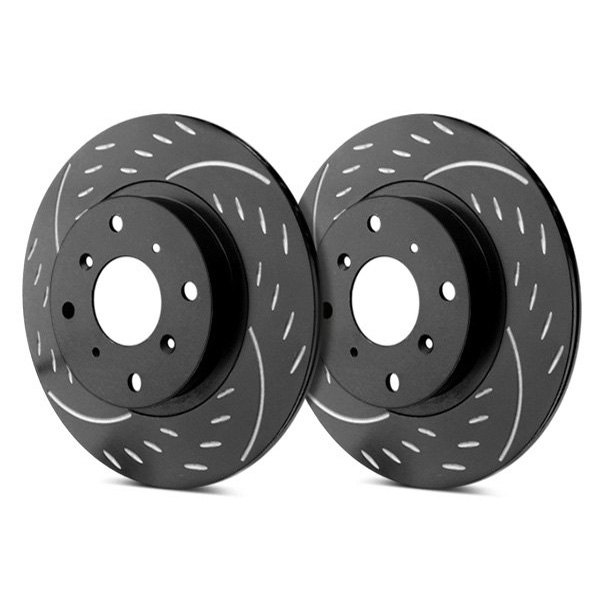 SP Performance® - Diamond Slot™ Dimpled and Slotted 1-Piece Front Brake Rotors