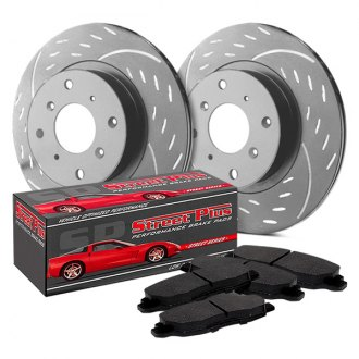 SP Performance® - Diamond Slot™ Dimpled and Slotted 1-Piece Front Brake Kit