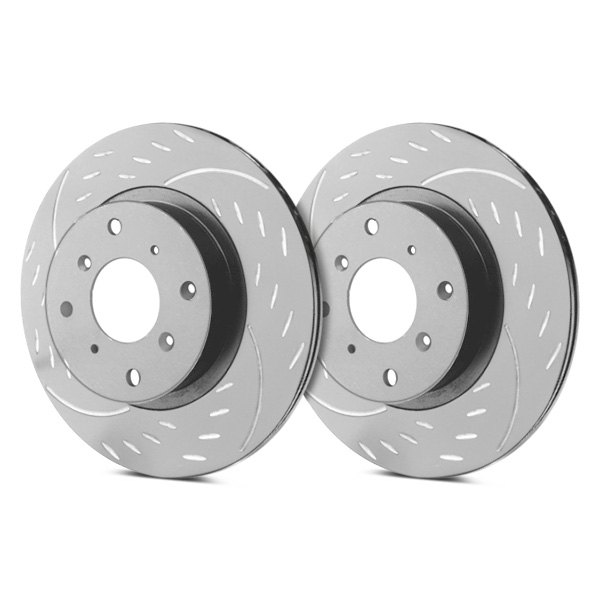 SP Performance® - Diamond Slot™ Dimpled and Slotted 1-Piece Rear Brake Rotors