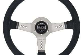 Sparco® - 3-Spoke L777 Piuma Series Street Racing Suede Steering Wheel with Silver Spokes