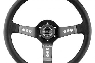 Sparco® 015L800PL - L777 Piuma Series Street Racing Steering Wheel, Dark Gray Leather, Dished