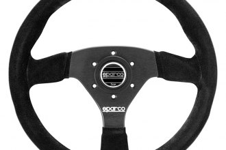 Sparco® 015R383PSN - R383 Series Competition Steering Wheel, Black Suede, Dished