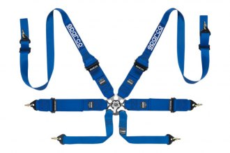 "Sparco® - 6 Points HANS Compatible Individual Shoulder Snap On Fixing Competition Harness (Pull Up Style; 3""/2""-3""-2"")"