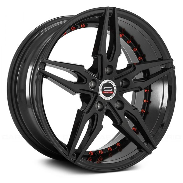 spec 1 sp 46 wheels gloss black with machined accents and lip rims. Black Bedroom Furniture Sets. Home Design Ideas