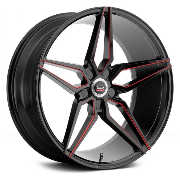 spec 1 spm 81 wheels gloss black with red accents. Black Bedroom Furniture Sets. Home Design Ideas