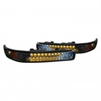 Spec-D® - Chrome/Smoke LED Bumper Lights with Amber Reflectors