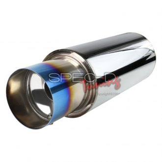 "Spec-D® - N-1 Style 304 SS Round Exhaust Muffler with Burnt Tip (2.5"" Center ID, 4"" Center OD)"