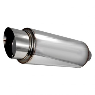 "Spec-D® - Fireball Style 304 SS Exhaust Muffler with Round Angle Cut (2.5"" Center ID, 4"" Center OD, 17.5"" Length)"
