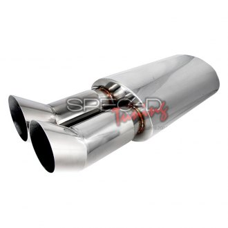 Spec-D® - Dual DTM 304 SS Exhaust Muffler with Turned Up Tips