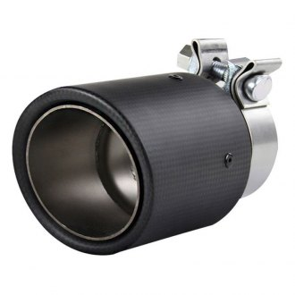 Spec-D® - Stainless Steel Round Angle Cut Clamp-On Exhaust Tip with Carbon Fiber Cover