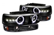 Spec-D® - Black Halo Projector Headlights with Bumper Lights
