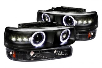 Spec-D® - Black Halo Projector Headlights with LEDs with Bumper Lights