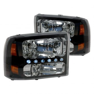 Spec-D® - Black LED Euro Headlights with Amber Reflectors