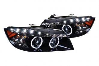 Spec-D® 2LHP-E9005G-8-TM - Black Projector Headlights with R8 Style LEDs
